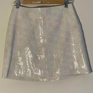 H&M white vinyl snake print skirt